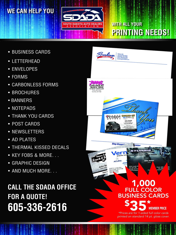 South Dakota Auto Dealers Association Print Shop Services